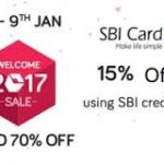 Snapdeal Welcome 2017 Sale 8th to 9th Jan: Upto 70% Off + 15% Instant Discount via SBI