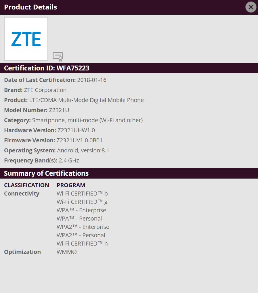 ZTE Z2321U Gets Wi-Fi Certified
