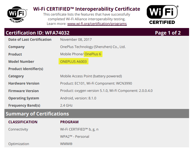 OnePlus 6 Appeared on Wi-Fi certification site