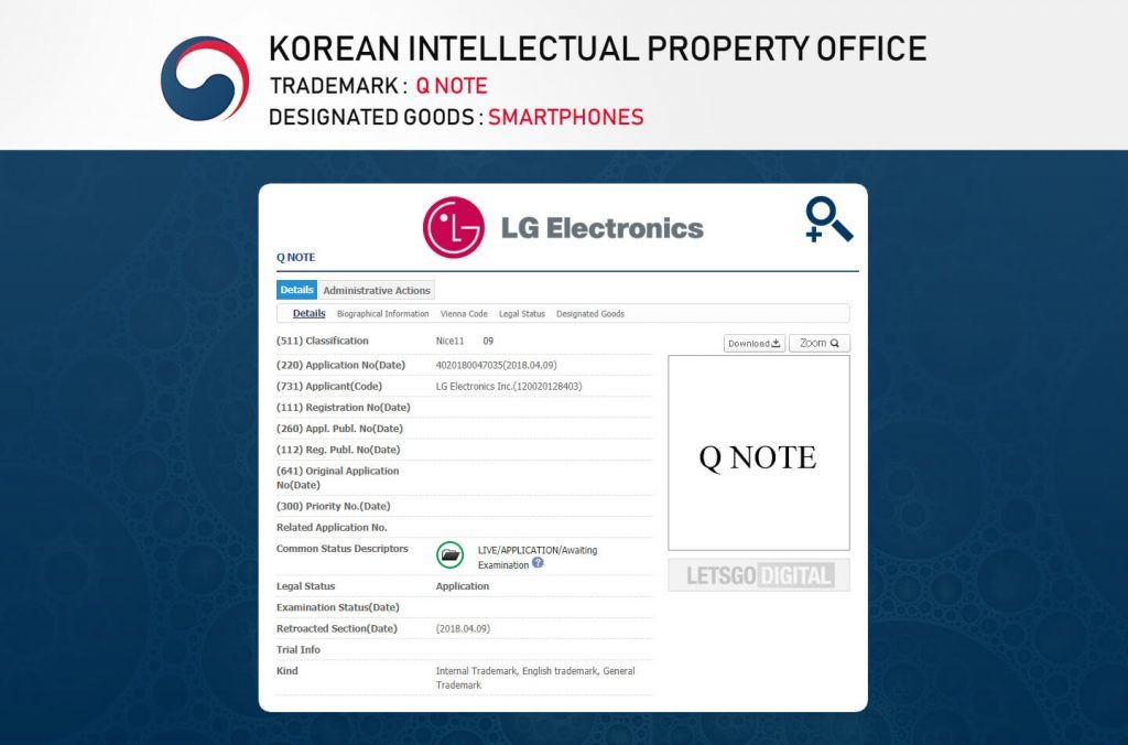 LG has filed a trademark for Q Note