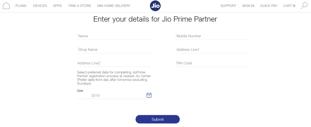 Jio Prime Partner apply form