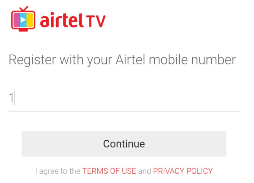 airtel tv for PC login