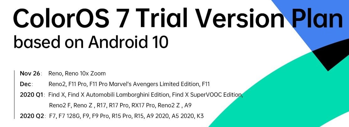 coloros 7 trail version list for global
