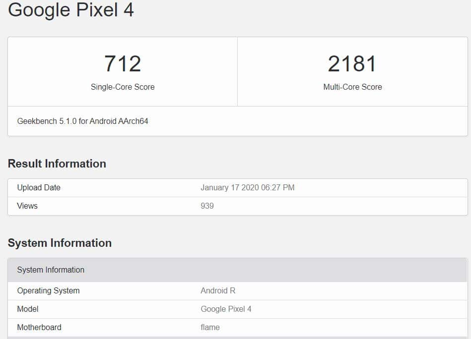 Upcoming OS spotted on Geekbench with Pixel 4